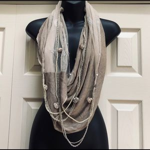 Chan Luu Infinity Scarf Necklace Embroidery Beads